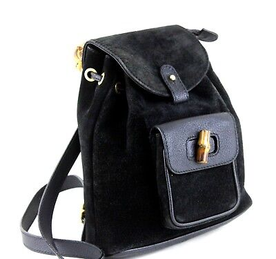 Auth GUCCI Bamboo Backpack Hand Bag Black Suede Leather 2 way Bag Italy Vintage