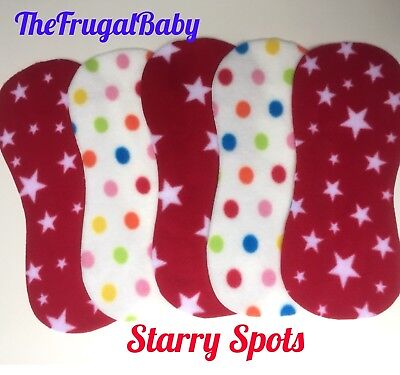 ⭐Fleece Reusable Shaped Nappy Liners Starry Spots New x10 ⭐️