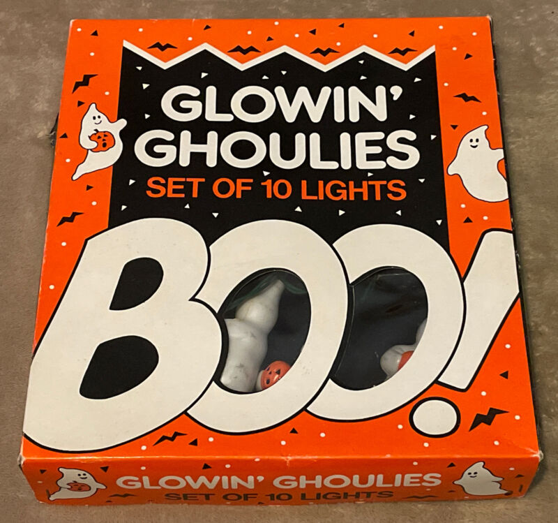 Vintage Midwest Importers Glowin' Ghoulies Set of 10 Lights with Original Box