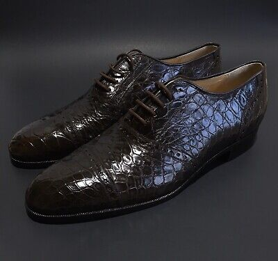 Polo Ralph Lauren Made in Italy Brown Alligator Crocodile Oxfords Lace Up - 12