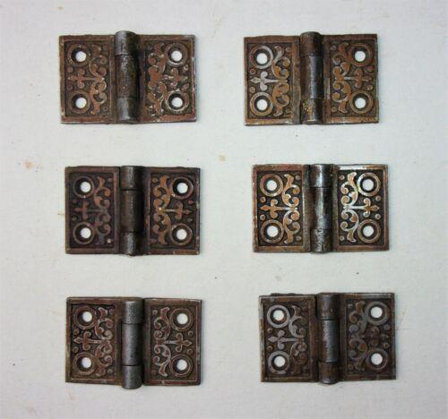 """6 Antique Vintage Old Eastlake Victorian Ornate Cabinet Door Hinges 2"""" x 1 1/4"""""""