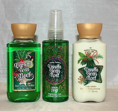 Bath & Body Works Vanilla Bean Noel Body Lotion, Shower Gel & Fragrance Mist