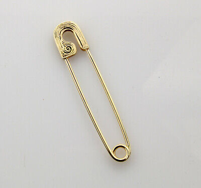 18K Yellow Gold Safety Pin Hand Engraved on both sides Handmade in USA