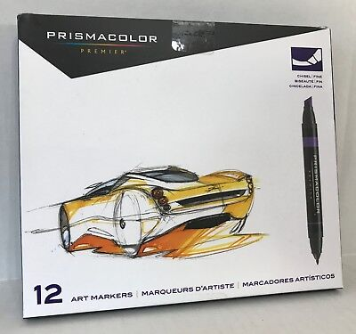 Prismacolor PRIMARY & SECONDARY Double-Ended Markers Fine & Chisel Tip 12-Count