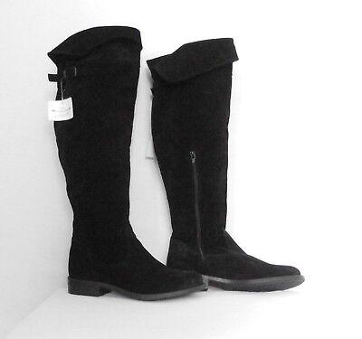 Tamaris Stiefel XL-Schaft Pirate Style mit Umschlag Gr.38 Wildleder schwarz Neu