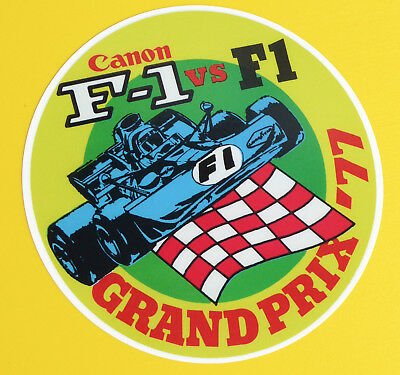 Vintage retro style F1 canon Grand Prix 1977 Formule One stickers decals x2
