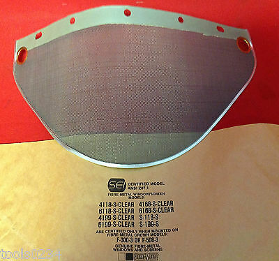 Fibre-metal S-178 Clear Stainless 24 Steel Mesh Screen Wide View Face Shield