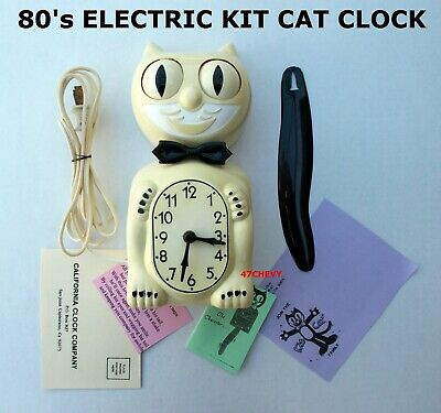 1980s VINTAGE-ELECTRIC-KIT CAT KLOCK-KAT CLOCK ORIGINAL MOTOR REBUILT-WORKS-USA