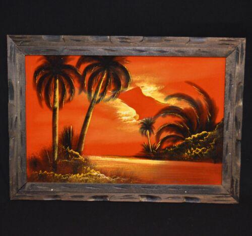 VINTAGE ORANGE VELVET PAINTING TROPICAL ISLAND SUNSET TIKI PALM TREES HAWAII MCM