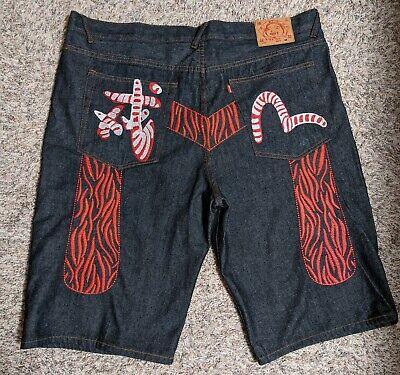 Evisu Japanese Dark Denim Jean Embroidered Shorts, Mens Skater/Hip Hop  Size 44 Shorts Dark Denim