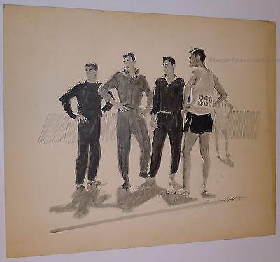 LIONEL GILBERT ORIGINAL ILLUSTRATION ART 1950 PAINTING SPORTS MALE ATHLETIC WEAR