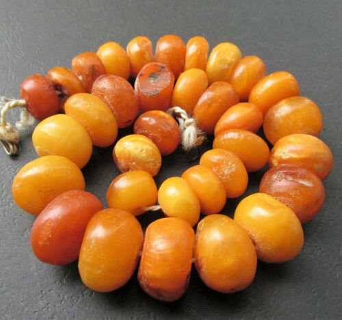 Antique Natural Butterscotch Egg Yolk Baltic Amber Beads Necklace 50g.