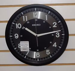 SEIKO 12 BLACK WALL CLOCK W/ 24 HOUR OPTION INDICATOR, QUIET SWEEP QXA628KRH