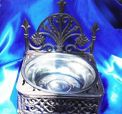 New FANCY Princess Victorian French Quarter Small dog IRON metal bowl holder*