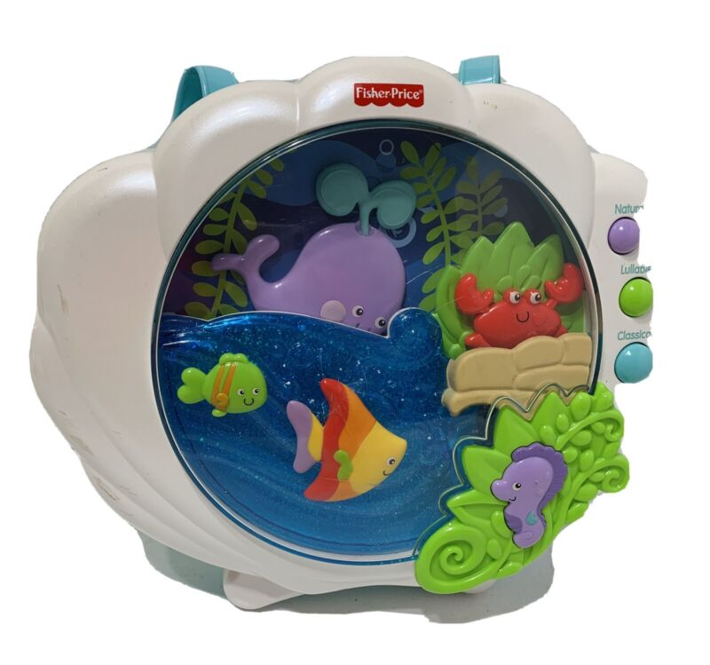 FISHER PRICE OCEAN WONDERS DEEP BLUE SEA BABY CRIB SOOTHER, MUSIC, LIGHTS, SOUND
