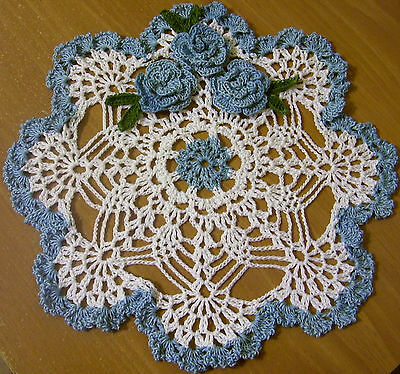 blue roses crocheted doily  by Aeshagirl