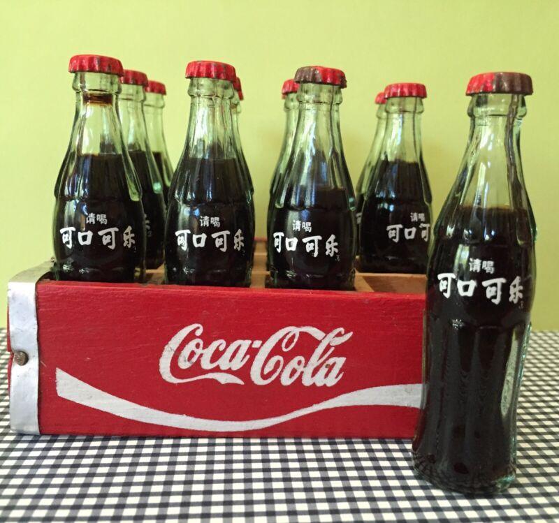 "12 Miniature 3"" Glass International Coca Cola Bottles & Wood Crate Soda Mini"