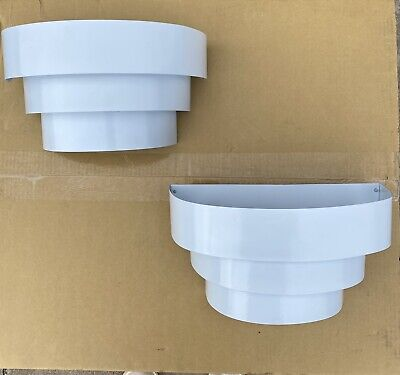 Pair Of 1 Light Terrace Wall Sconces White Metal Indoor 3 Tier Light Flush Wall