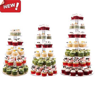 5-7 Tier Crystal Acrylic Round Cupcake Stand Wedding Birthday Display Cake Tower (Cupcake Towers)