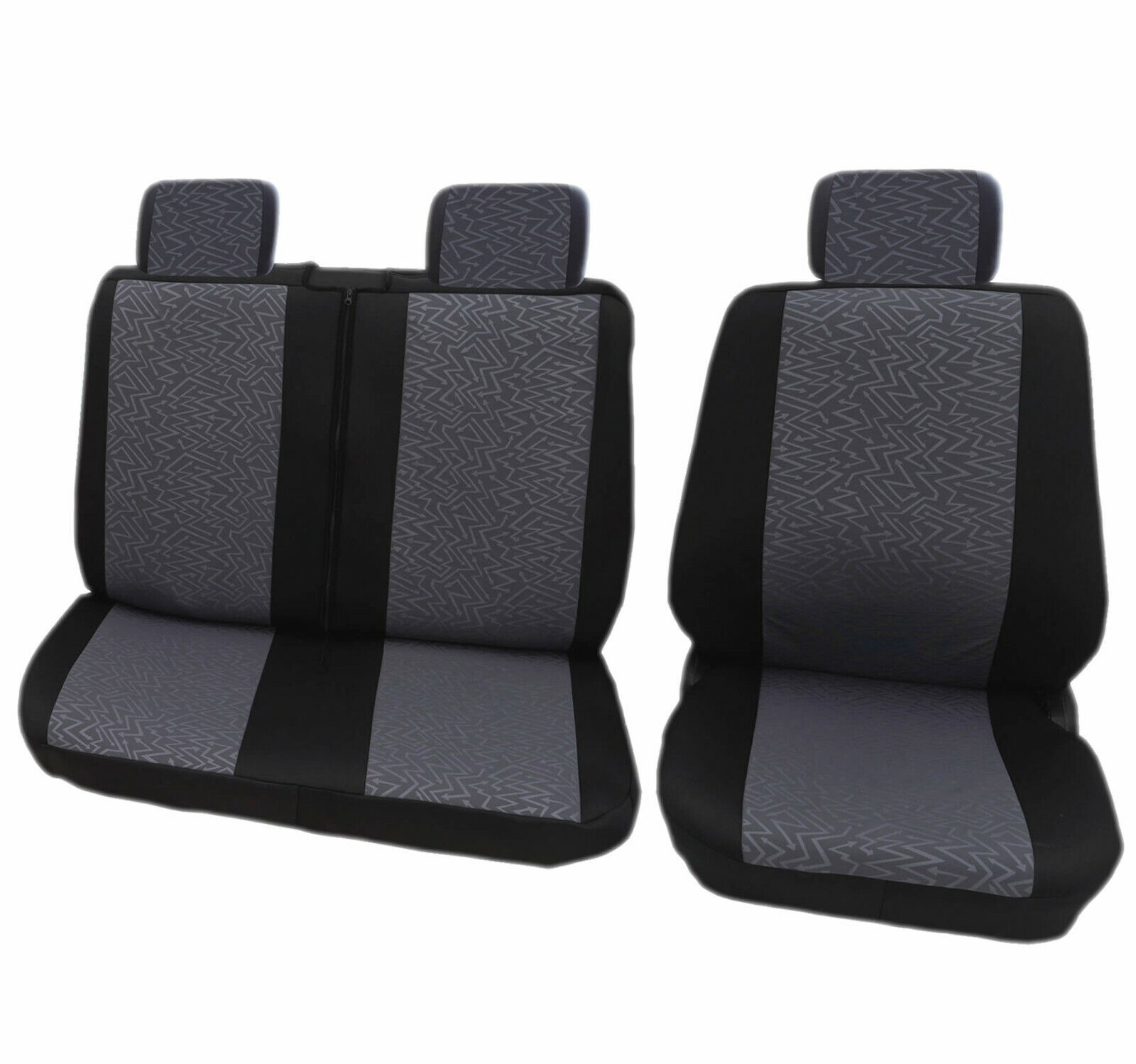 5Pcs Black Grey Comfort Van Seat Covers Universal Heavy Duty Washable Airbag