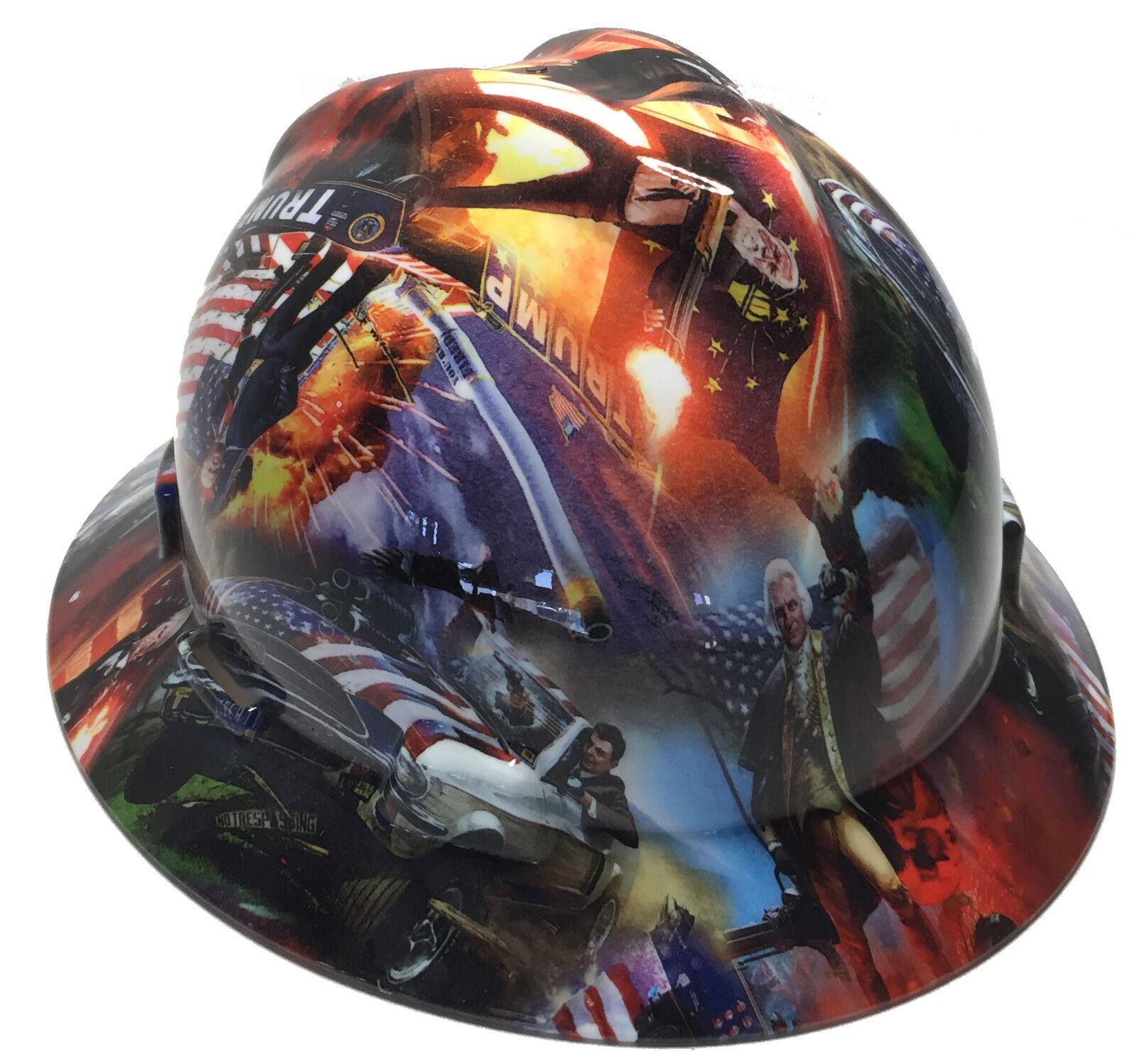 Hydro Dipped Trump Hard Hat MSA Full Brim W/ Free BRB TShirt
