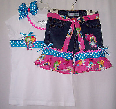 Custom boutique Smurf Smurfette jeans outfit all - Smurf Outfits