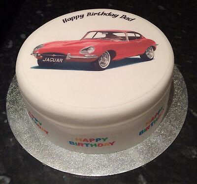 Personalised Jaguar E Type Car pre-cut Edible Icing Cake Topper or Ribbon