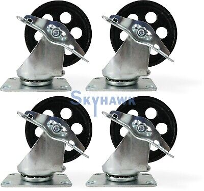 4-pc 3-12 350lb Capacity All-steel Wide Locking Wheel Swivel Top Plate Casters