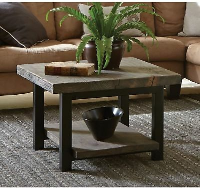 Rustic Country Style Solid Reclaimed Wood Metal Square Living Room Coffee Table Country Style Solid Wood