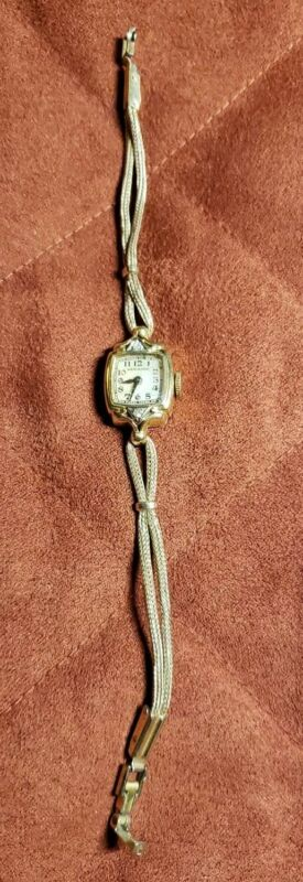 14K GOLD RARE VINTAGE LADY HAMILTON DIAMONDS LADIES MECHANICAL WATCH #911