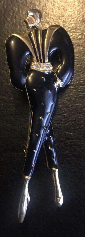 Vintage Metal Dancer Black and Goldtone Brooch Pin #3