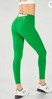 Fabletics Legging L Large Trinity High Waisted Pocket Green White Stretch New