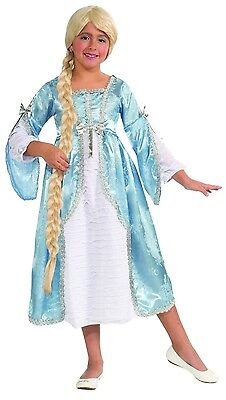 Girls Rapunzel Costume Elegant Long Fancy Dress Up Blue Princess Kids Child NEW