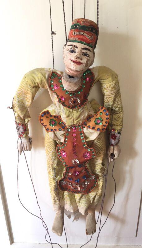 """Vintage Asian Burmese Carved Wood Marionette String Puppet 22"""""""