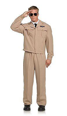 WWII Air Force Uniform Costume 4 Pc Khaki - Air Force Uniform Kostüme