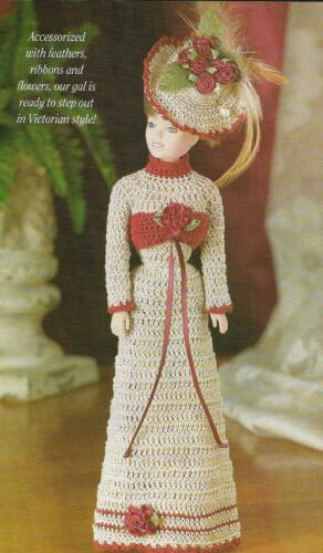 VICTORIAN FLAIR HAT & DRESS FASHION DOLL CROCHET PATTERN INSTRUCTIONS