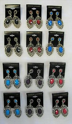 Wholesale Earrings 12 Pairs Filigree Dangle Stone Earrings Assorted # 0882 New