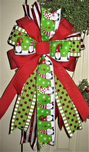 GNOMES LIME / RED / WHITE WIRED BOW, WREATH SWAG GARLAND MAIL # 110 rb