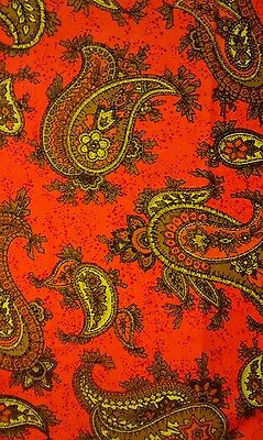 Retro Paisley Orange Green Brown Upholstery Fabric Remnant 1/2 Yard