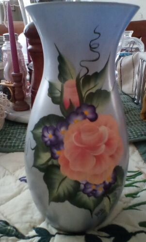 HAND PAINTED  blue SIGNED VASE, GERMANY
