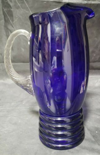 "DUNBAR COBALT BLUE MARTINI / COCKTAIL PITCHER - 9"" TALL"