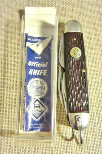 Vintage Official Knife Boy Scouts of America Stainless- 4 Blades No 1996 In Box