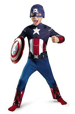 NEW Captain America Avengers Costume Boys Small 4-6 Halloween Dress up Play (4 Play Halloween Costumes)
