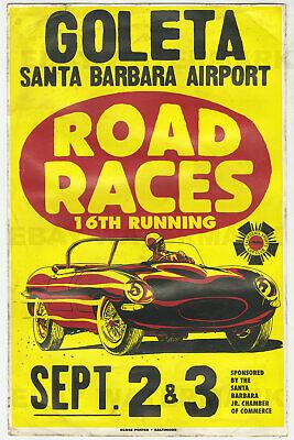 1960s Jaguar E-Type XKE Santa Barbara Race Vintage Advertising Poster 11 x 17