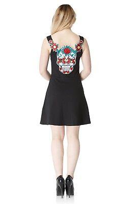 JAWBREAKER PUNK ROCK EMO GOTH SEXY SUGAR SKULL BACK SKATER BLACK DRESS DRA8118 - Sugar Skull Dress