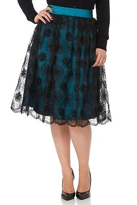 VOODOO VIXEN PIN UP 50'S VINTAGE FLARE ROCKABILLY SHANNON LACE SKIRT SKA3244 S Clothing, Shoes & Accessories