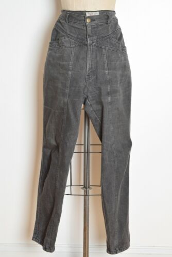 vintage 80s mom jeans gray black denim high waisted tapered leg pants M L