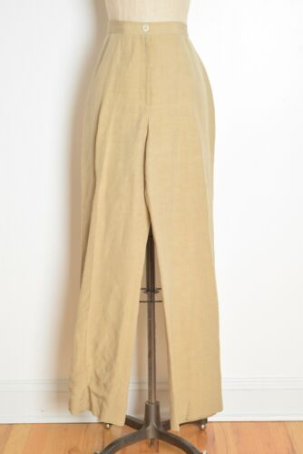 vintage 80s pants beige linen silk high waisted pleated mom trousers neutral L