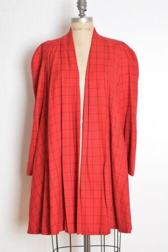 vintage 80s jacket red black plaid swing trapeze coat jacket clothing