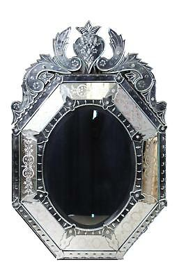 Ornate Venetian Etched Beveled Glass Decor Mirror Lot 41